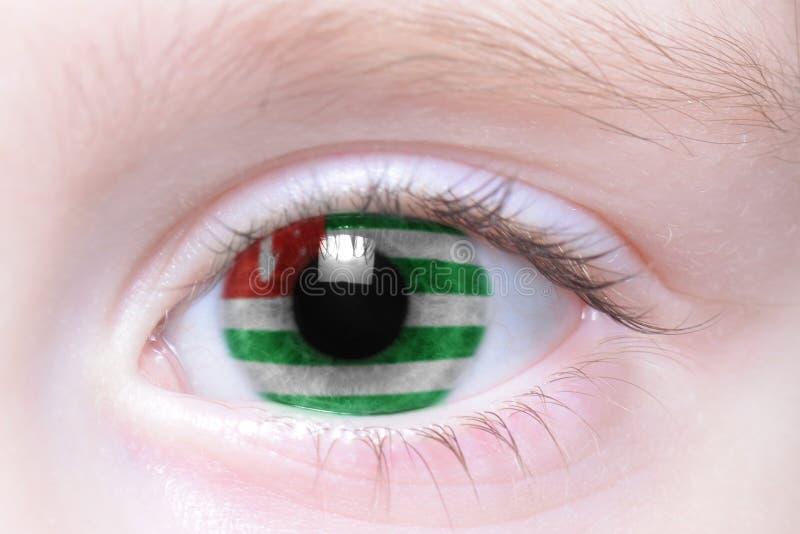 Ojo humano con la bandera nacional de Abjasia imagenes de archivo