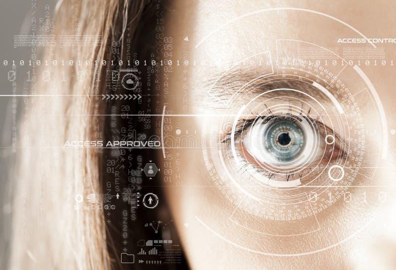 Ojo humano y interfaz gr?fica Concepto usable elegante de la tecnolog?a