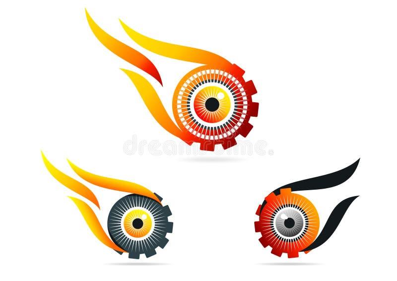 Ojo, llama, engranaje, logotipo, tecnología, visión, rueda, cuidado, símbolo, icono, diseño, sistema stock de ilustración