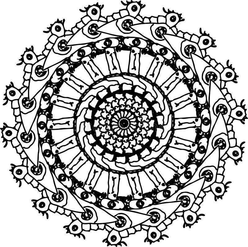 Ojo noble de la mandala de la rodaja de espuela stock de ilustración