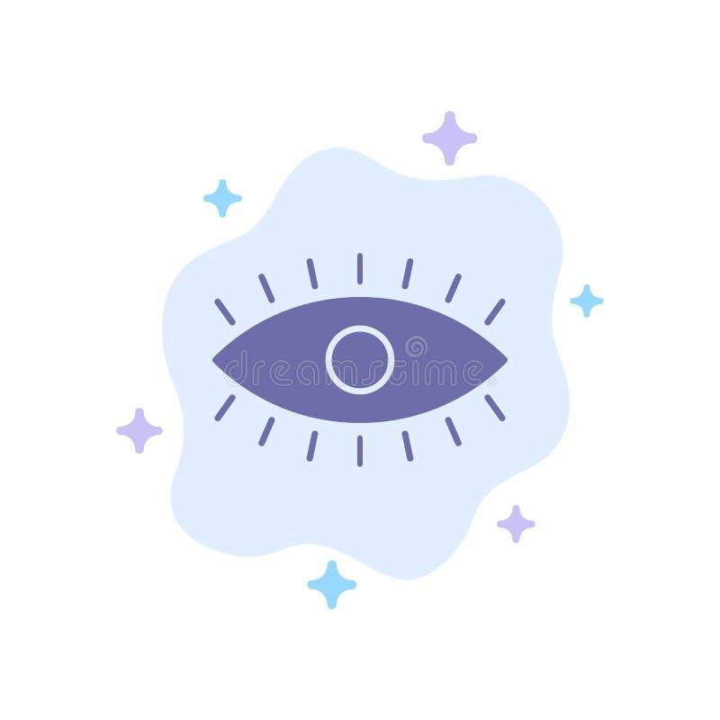 Ojo, ojos, reloj, icono azul del diseño en fondo abstracto de la nube ilustración del vector
