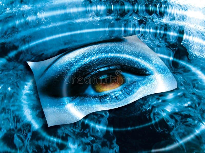 Ojo sobre azul   ilustración del vector