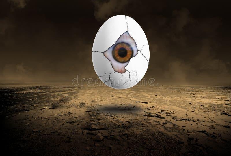 Ojo surrealista, huevo, desierto solitario ilustración del vector
