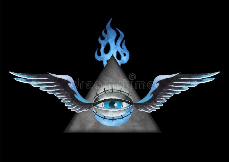 Ojo todo-que ve con alas acuarela con el triángulo falming stock de ilustración