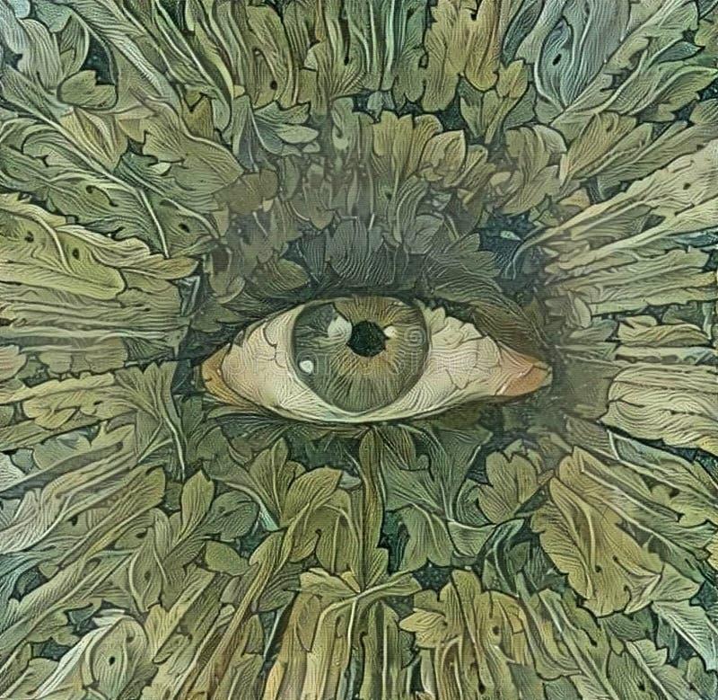 Ojo verde de la naturaleza ilustración del vector