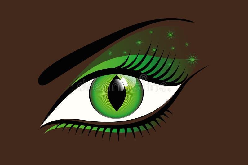Ojo verde místico en un fondo oscuro stock de ilustración