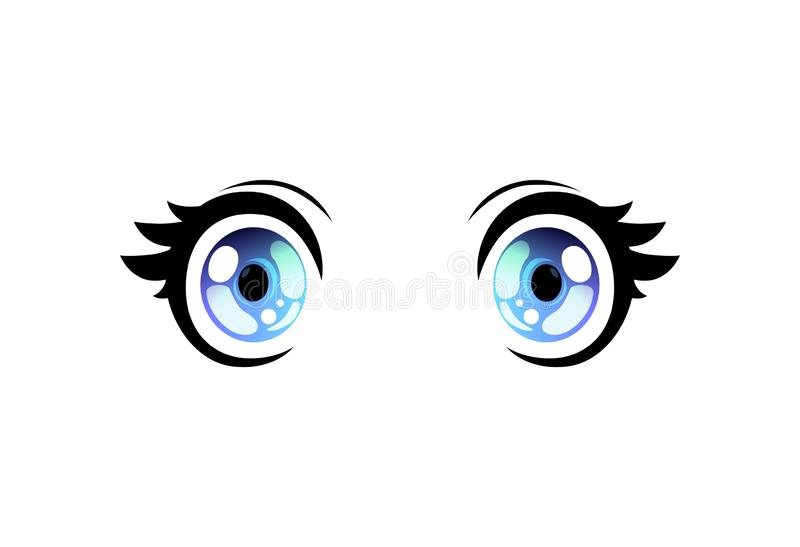 Ojos abiertos de par en par de los ojos brillantes, ojos hermosos con los reflejos de luz Manga Japanese Style Vector Illustratio ilustración del vector