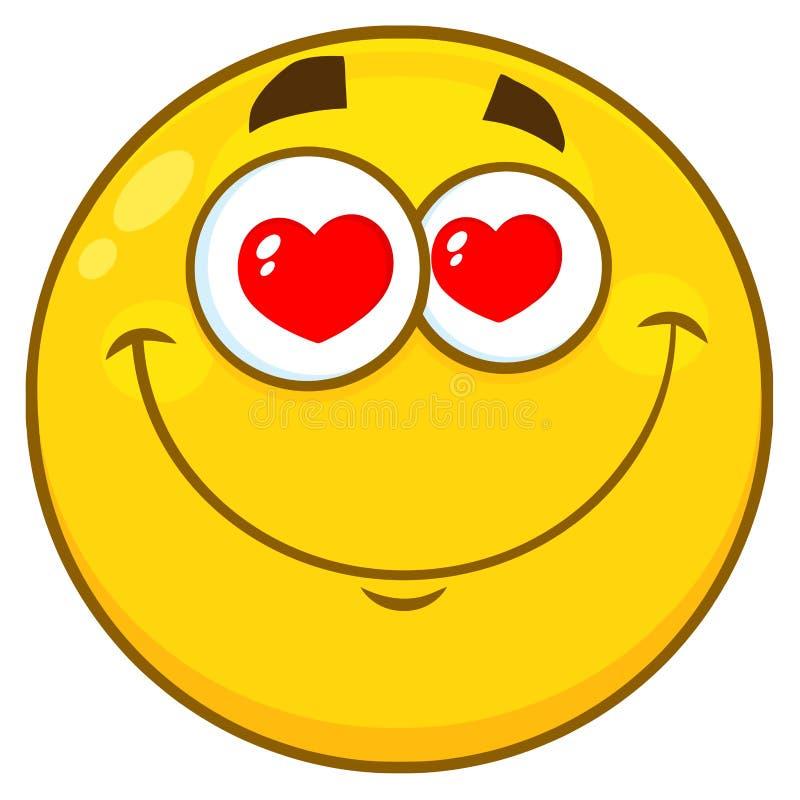Ojos amarillos sonrientes de Smiley Face Character With Hearts de la historieta libre illustration