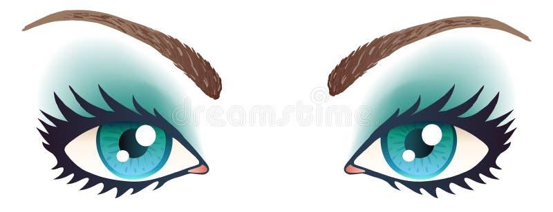 Ojos azules con maquillaje stock de ilustración