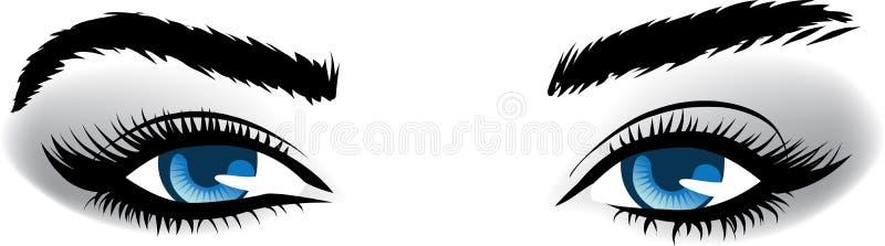 Ojos azules de la mujer. ilustración del vector