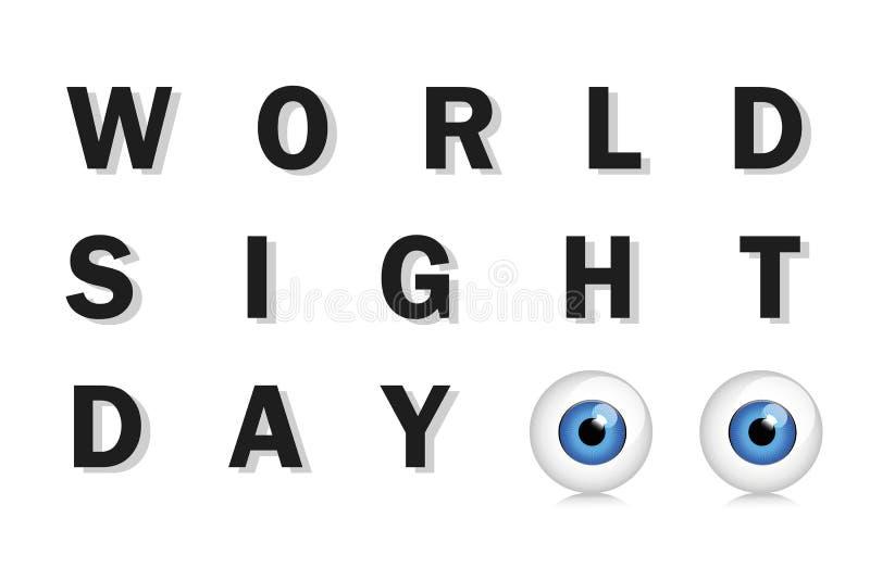 Ojos azules de la tipografía del día de la vista del mundo stock de ilustración