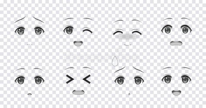 Ojos azules de las emociones de las muchachas del manga del animado ilustración del vector