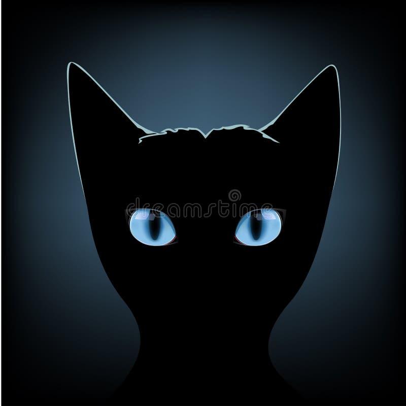 Ojos azules del gato negro libre illustration