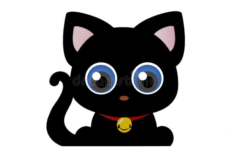 Ojos azules del gato negro de la silueta divertida de la historieta ilustración del vector
