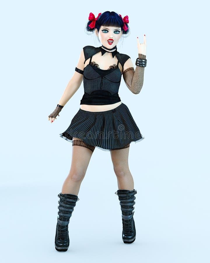 ojos azules grandes de la muñeca de la muchacha del goth 3D y maquillaje brillante en panty libre illustration