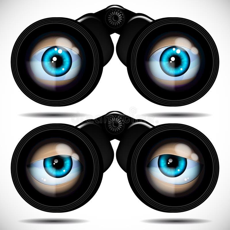 Ojos azules que miran a través de los prismáticos Diversas emociones libre illustration