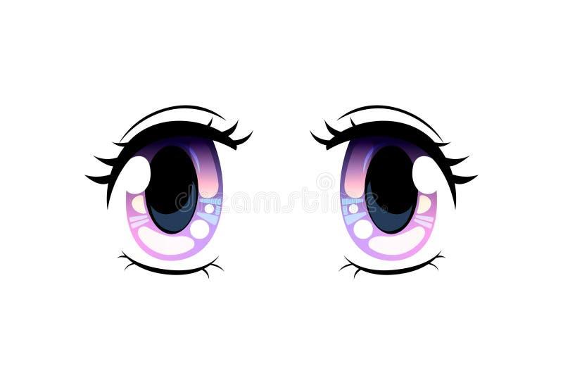Ojos brillantes, ojos hermosos con los reflejos de luz Manga Japanese Style Vector Illustration ilustración del vector