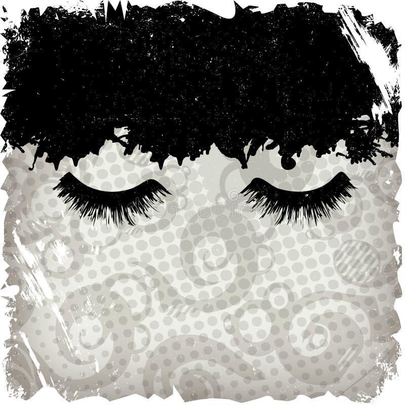 Ojos cerrados, fondo del grunge libre illustration