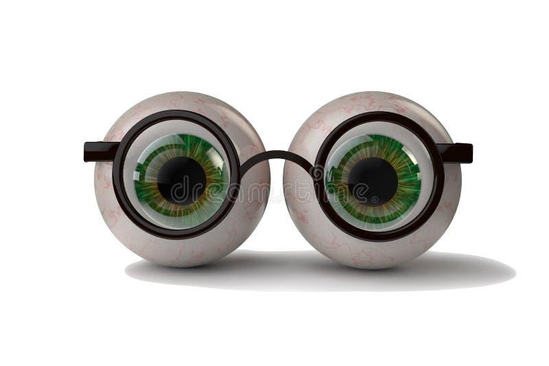 Ojos con los vidrios ilustración del vector