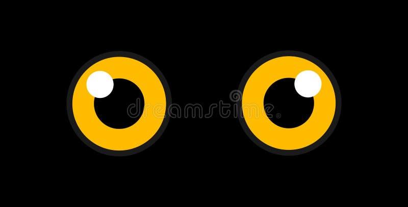 Ojos de búho en la oscuridad stock de ilustración