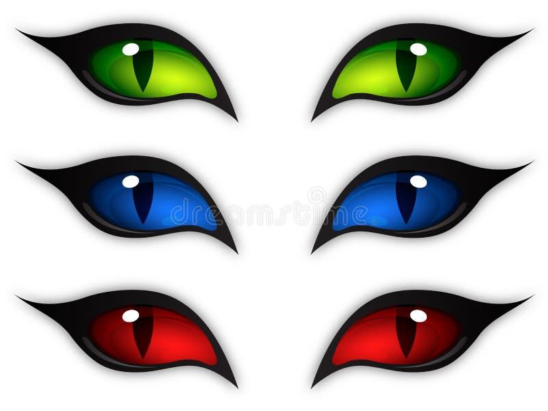 Ojos de gato stock de ilustración