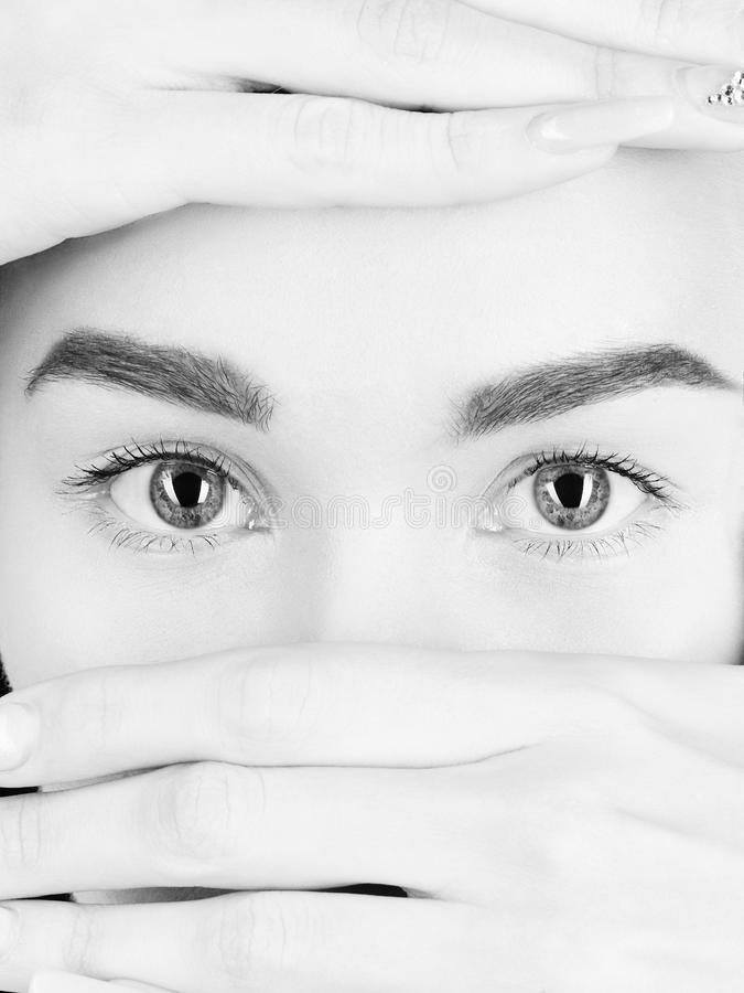 Ojos de las muchachas Cara hermosa de la mujer fotos de archivo