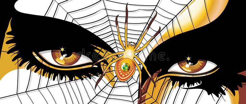 Ojos de oro de la mujer de la araña stock de ilustración