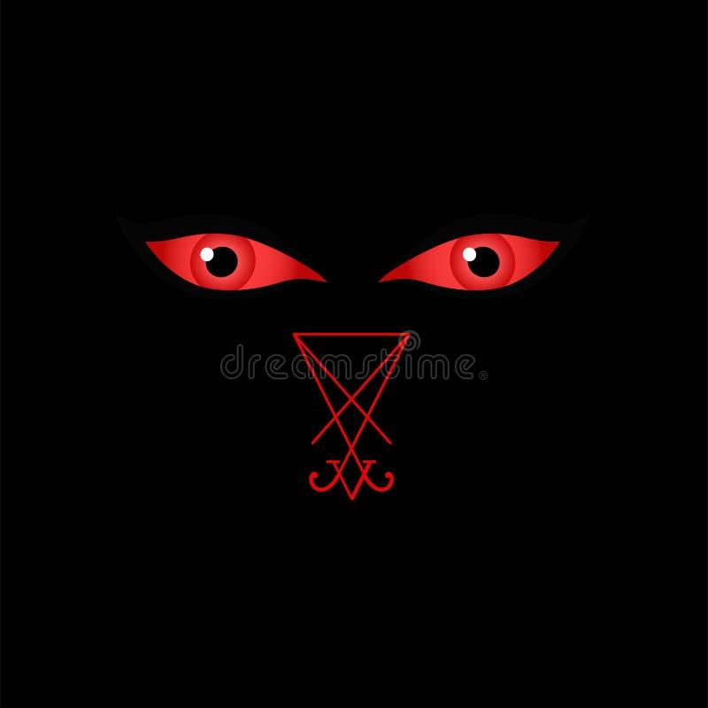 Ojos de Satanás u ojos del diablo del diablo con el sigil de Lucifer stock de ilustración