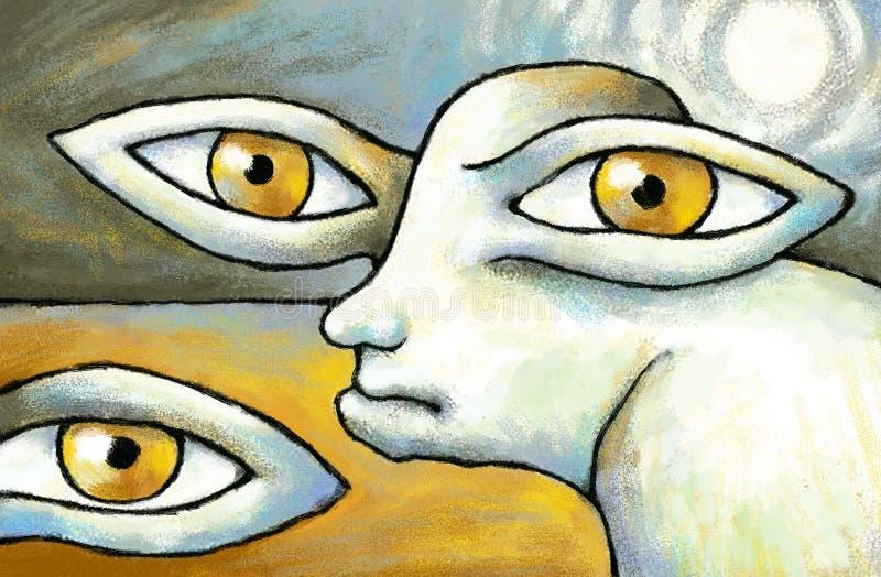 Ojos del cartel de la pintura digital surrealista original de las termitas ilustración del vector