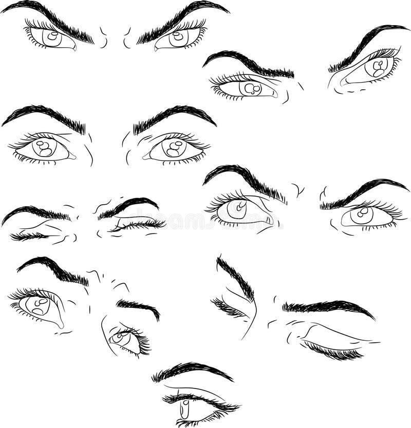 Ojos del sistema: determinación, foco, sueños, dolor, perseverencia, miedo, día de fiesta ilustración del vector