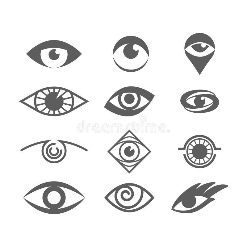 Ojos del vector fijados en blanco Ojo Logo Concept libre illustration