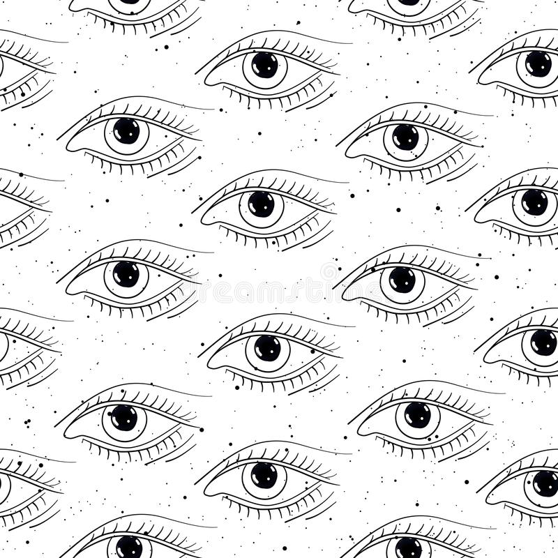 Ojos dibujados mano inconsútil del modelo stock de ilustración