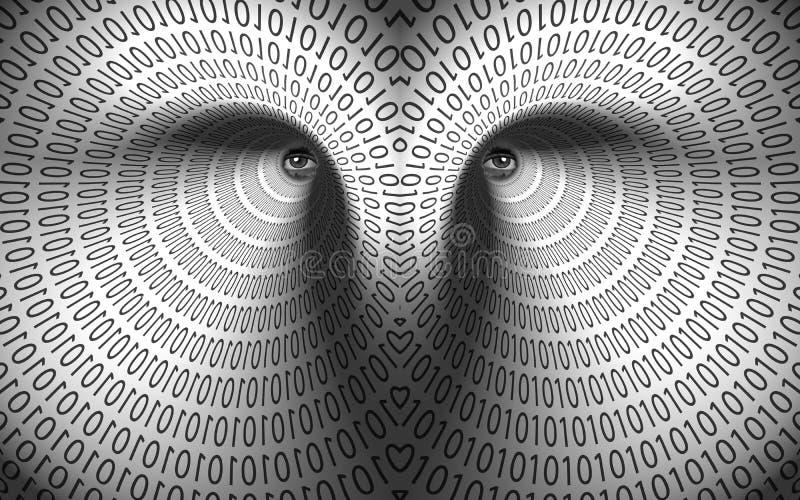 Ojos en túnel binario ilustración del vector