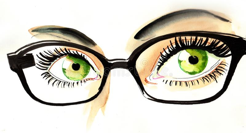 Ojos en vidrios stock de ilustración