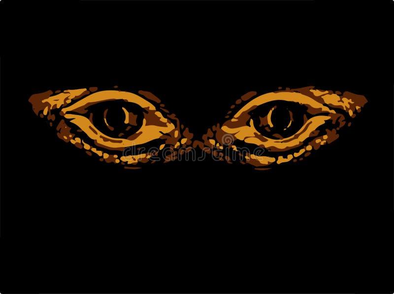 Ojos horribles terribles animal o pájaro fantástico Ojos dinosaurio o serpientes libre illustration
