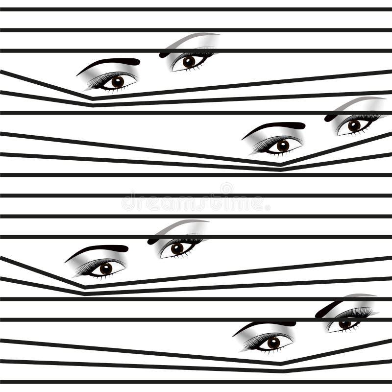Ojos ocultados mujer inconsútil del modelo que miran a través de persianas horizontales stock de ilustración