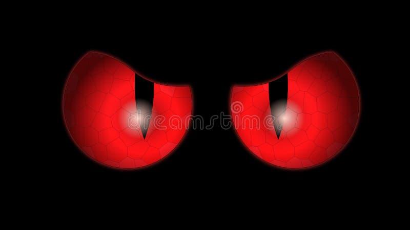 Ojos rojos de un gato negro que brillan intensamente en la oscuridad ilustración del vector
