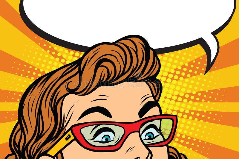 Ojos sorprendidos con la muchacha de los vidrios ilustración del vector
