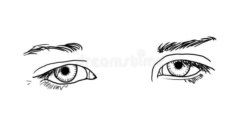Ojos tristes ilustración del vector