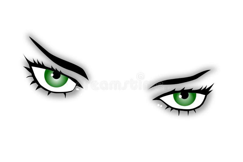 Ojos verdes ilustración del vector