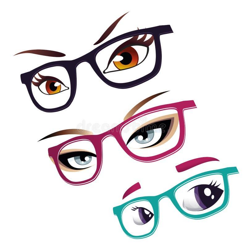 Ojos y vidrios stock de ilustración