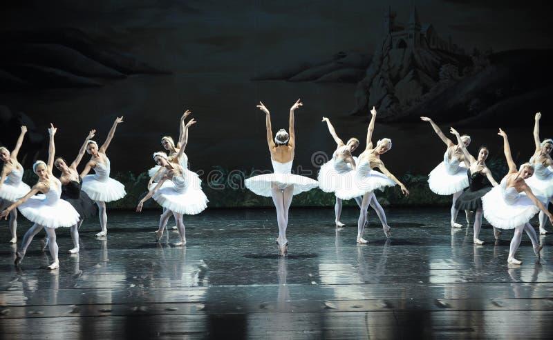 Ojta navré a commis le suicide en sautant dans une scène de bout de rivière-Le de lac swan de Lac-ballet de cygne images libres de droits