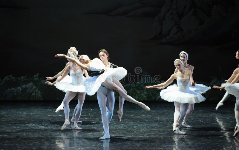 Ojta navré a commis le suicide en sautant dans une scène de bout de rivière-Le de lac swan de Lac-ballet de cygne photo libre de droits