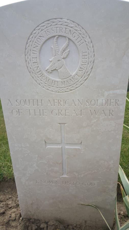 Okända söder - afrikansk soldat WWI royaltyfria foton