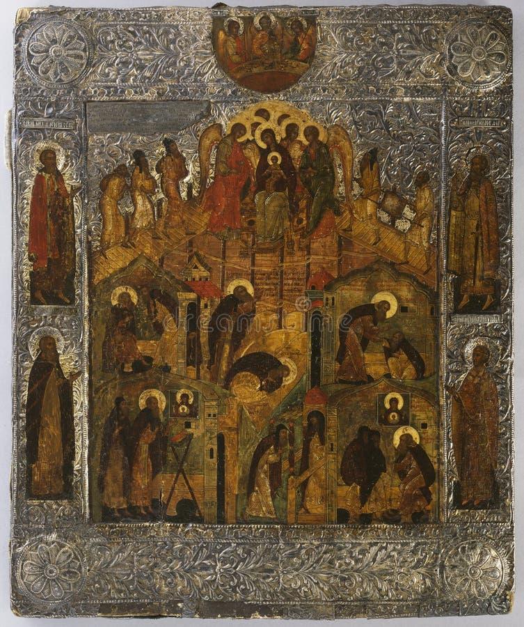 okänt/tuntematon/ökänd: Uppenbarelsen av oskulden Mary till helgonet Alexander av Marian Svir/Neitsyt ilmestyminen Pyhittäjä arkivbilder