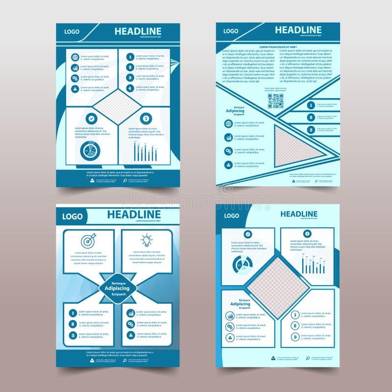 Okładkowego projekta abstrakcjonistyczny tło, biznes, błękitny koloru broshure, szablon w A4 rozmiarze Książka, magazyn, Korporac ilustracji