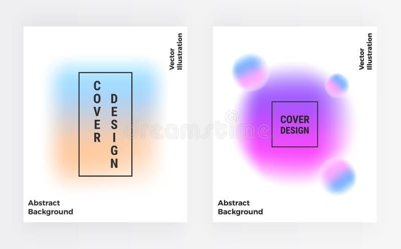 Okładkowej plamy kolorowy szablon z wibrującymi gradientowymi kształtami Modny tło dla plakata, karta, sztandar, moda, broszurka, royalty ilustracja