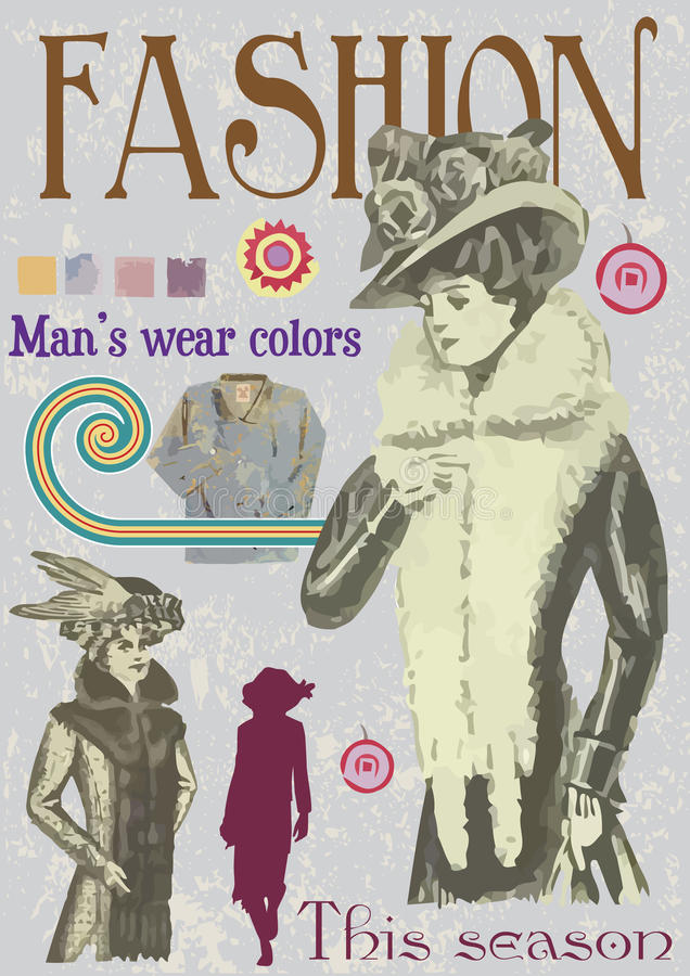 okładkowej sfałszowanej mody ilustracyjny magazynu rocznik ilustracja wektor