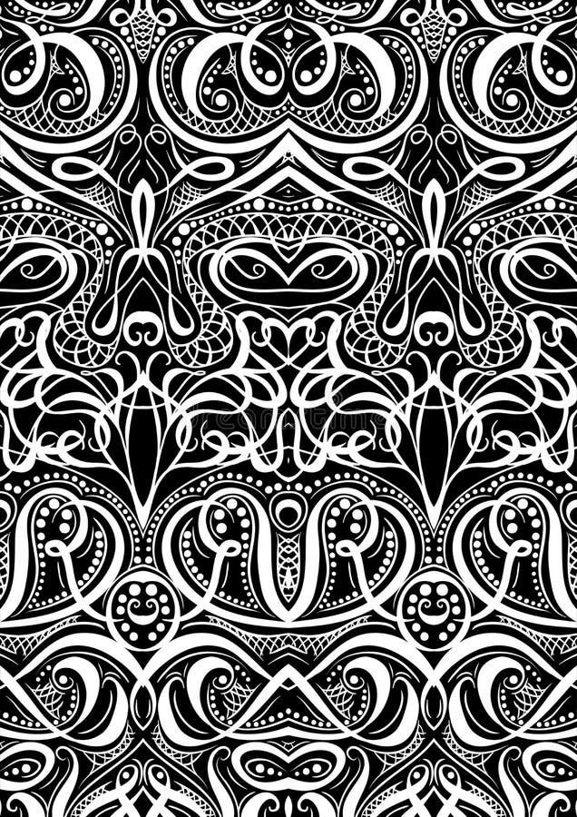 Okładkowi ornamentu wzoru karta do gry lub książka Rocznik kwiecista ręka rysująca ilustracja w kreskowej sztuki stylu royalty ilustracja