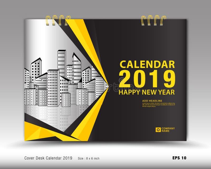 Okładkowy biurko kalendarz dla 2019 rok szablonu wektoru, książkowej pokrywy układ, sprawozdanie roczne, magazyn reklamy, Bizneso ilustracja wektor